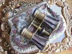 """Lemaire FI Paris""  mauve abalone and brass opera glasses."