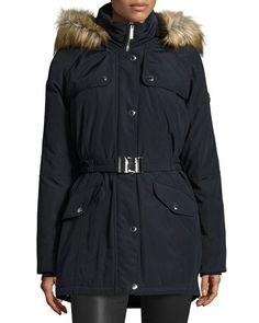 TQ945 MICHAEL Michael Kors Belted Puffer Coat w/ Faux Fur Trim, Navy