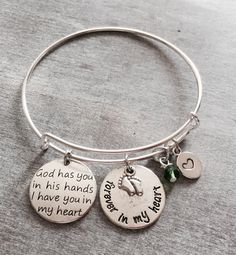 God has you in his hands I have you in my heart, Forever in my heart, Loss of Baby, Miscarriage, Loss of Child, Baby Memorial, Silver Bangle by SAjolie, $23.95 USD