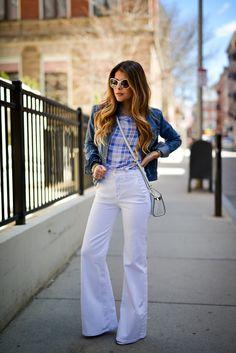 Spring Outfit Idea, Equipment Riley Tee, 7 for all mankind high waist trousers, Gap Denim Jacket, Chanel Sunglasses, Michael Kors Selma Crossbody Bag