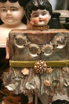 Lisa Kaus ~ mixed media, found element art dolls