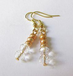 Ohrhänger - Glas-Ohrhänger gold-transparent - ein Designerstück von soschoen bei DaWanda