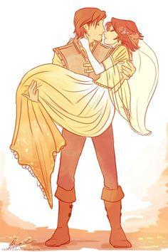 Rapunzel and Flynn Rider (Eugene Fitzherbert) Disney Kunst, Arte Disney, Disney Fan Art, Disney Love, Disney Magic, Disney Rapunzel, Princess Rapunzel, Sailor Princess, Tangled Rapunzel