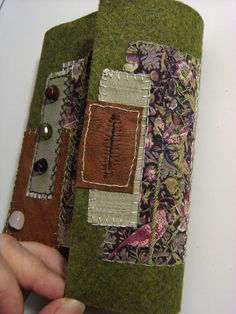 The Forest Wool Felt Embroidered Journal Artist Book - rustic-style hand stitched buttonhole fastening Fuzzy Felt, Wool Felt, Fabric Journals, Handmade Books, Green Wool, White Embroidery, Fabric Art, Journal Covers, Book Covers