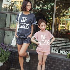 MAGGIE'S WALKER  Family Look Matching Mother Daughter Clothes 2pcs Set  suits T-Shirt + Shorts Family Clothing Set