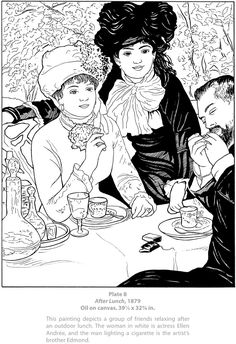 Welcome to Dover Publications - Dover Masterworks : Color Your Own Renoir Paintings / Marty Noble Free Adult Coloring Pages, Coloring Book Pages, Famous Artists Paintings, Renoir Paintings, Teaching Drawing, Dover Publications, Mandala Coloring, Colorful Pictures, Artist Art