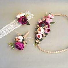 Mürdüm Pembe çiçekli Yan Gelin Tacı- Bilekliği Ve Damat Yaka çiçeği - Dış çekim - Nişan Kına Lohusa GittiGidiyor'da 294247249
