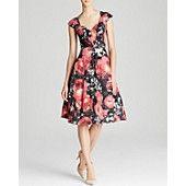 Tracy Reese Dress - Cap Sleeve Floral Crisscross A-Line