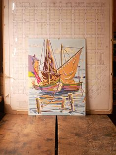 Vintage Paint by Numbers Sailboats Painting by CopperAndTin on Etsy https://www.etsy.com/listing/226730239/vintage-paint-by-numbers-sailboats