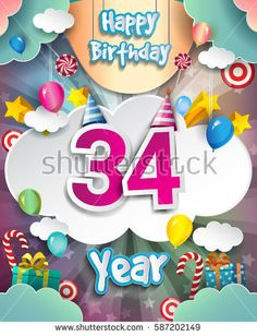 34th Birthday Celebration greeting card Design, with clouds and balloons. Vector elements for the celebration party of thirty four years anniversary