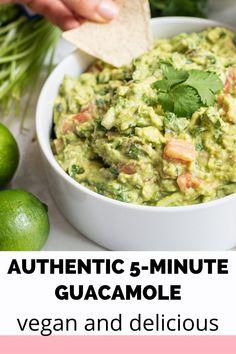 Guacamole Recipe Easy, Homemade Guacamole, Gluten Free Appetizers, Appetizer Recipes, Vegan Dishes, Food Dishes, Guacamole Chips, Whole Food Recipes, Vegan Recipes