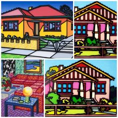 Howard Arkley Magnum Opus, Mondrian, Howard Arkley, Musica Punk, Landscape Paintings, Landscapes, Australian Artists, Urban Landscape, Visual Arts