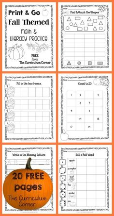 20 FREE Pages! Print & Go Kindergarten Practice Pages for Fall FREEBIE from…