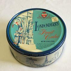 Vintage Londonderry Fruitcake Tin, Tin with World Landmarks, by SensibleBeauty on Etsy