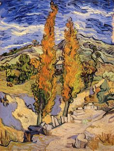 Two Poplars on a Hill ~ Vincent van Gogh / arbre / paysage / orange / vert / jaune / collines / champs / trait / couleur / composition