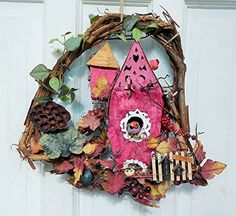 7 Birds Victorian Birdhouse Grapevine Wreath 16 with Gothic Gingerbread Trim Woodland Vines Berries Pinecones Lotus Pods Handmade One of a KInd ** Click the VISIT button for detailed description http://www.amazon.com/gp/product/B01GXHOWKC/?tag=buyamazon04b-20&p3d=260217200205