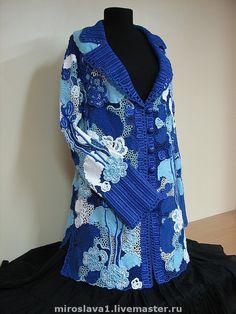 Купить Летнее пальто . Кружево от Мирославы №19 - Вязание крючком, ирландское кружево, кружево, синий