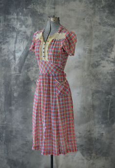 1930s Cotton Voile Plaid Dress Swiss Dots by Petrune on Etsy, $145.00