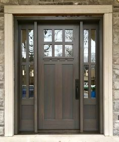 Very handsome #AmberwoodDoors handmade; custom mahogany single #door with 2 sidelights; custom Charcoal stain; custom dental moulding shelf; clear glass; sturdy @emtekassaabloy Longmont lockset in Flat Black. Call or come into Amberwood's outstanding showroom today and purchase your #dreamdoors! 416-213-8007 #AmberwoodDoors proudly ships #worldwide! Call today for shipping details! 1-800-861-3591#Ihavethisthingwithdoors #curbappeal