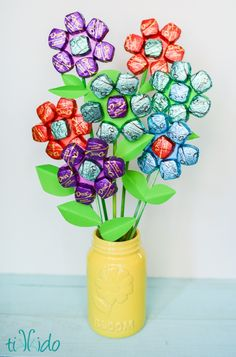 Chocolate Bouquet | Creative DIY Mother's Day Gifts Ideas | Thoughtful Homemade Gifts for Mom. Handmade Ideas from Daughter, Son, Kids, Teens | Unique, Easy, Cheap Do It Yourself Crafts To Make for Mothers Day, complete with tutorials and instructions http://thrillbites.com/diy-mothers-day-gift-ideas