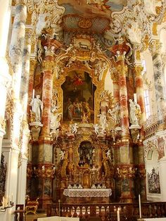 Inside the Church of the Meadow, on the Romantic Road, Germany
