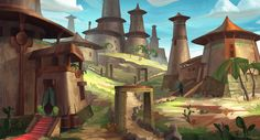 A Desert Town. The workflow on this one wasn't quite as smooth as I would like it to be. Anyways, I'm sure I learnt something while painting this piece. A Town in the Desert Fantasy Rpg, Deserts, Environment, Deviantart, City, Artwork, Painting, Fictional Characters, Work Of Art