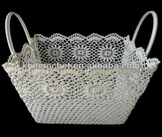 100% Hand Crochet Lace Baskets, handmade crochet basket, crochet storage basket