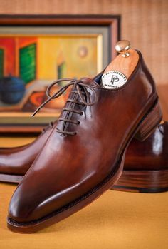 Paul Parkman Goodyear Welted Wholecut Oxfords Brown Hand-Painted (ID Black Shoes, Men's Shoes, Shoe Boots, Shoes Men, Leather Men, Leather Shoes, Gentleman Shoes, Brown Oxfords, Derby Shoes