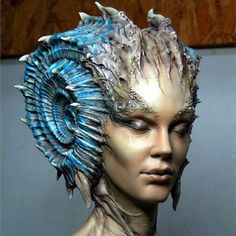 """blue - woman - head - """"Caracolilla"""" - resin bust sculpted by digital sculpture Abner Marin and painted by Matsugoro"""