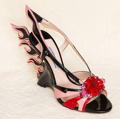 edb60206df95 Prada Flame Jeweled Toe Platforms