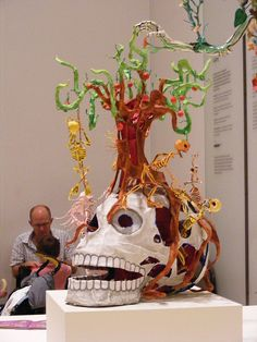 Paper Mache skull + jewelry tree