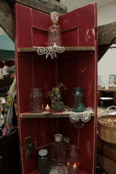 Vintage Red door Corner shelf