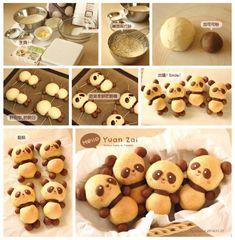 "Taiwanese baby panda ""Yuan Zai"" bread Copyright (c) Colacat (bread shaping ideas) Baking Recipes, Cookie Recipes, Dessert Recipes, Cute Food, Good Food, Yummy Food, Bread Shaping, Bread Art, Cute Desserts"