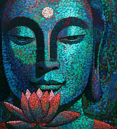"""Be patient toward all that is unsolved in your heart, and try to learn to love the questions themselves."" ~ Rainer Maria Rilke Artist: Virginia Peck @ Western Avenue Studios Title: Faces of Buddha ॐ lis Art Buddha, Buddha Kunst, Buddha Painting, Buddha Zen, Gautama Buddha, Buddha Buddhism, Buddhist Art, Peace Painting, Art Plastique"