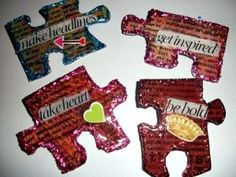 How to Make Crafts: Using Puzzle Pieces.  They used these as pins, but you could use them as refrigerator magnets or put a tack on the back and use them to hang pictures or something like that.