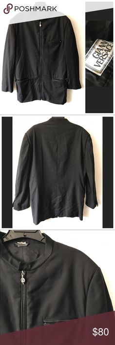 Vintage Gianni Versace Mandarin Collar Jacket 48IT Gianni Versace Mandarin Collar zip front jacket, circa 1990's. Light shoulder pads, fully lined, Versace logo zipper pulls and cuff buttons are missing. Zip chest and hip pockets. Made in Italy. No stains or holes. Size 48 IT /Medium. Versace Jackets & Coats