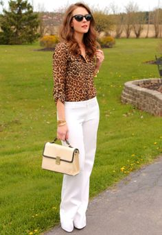 classic white trousers & cheetah blouse