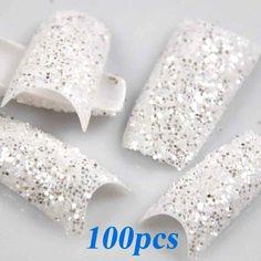 redbird2012 100pcs Glitter White Twinkle Slice Fashion False French Acrylic Nail Tips New by TOOGOO(R) -- This is an Amazon Affiliate link. Click image to review more details.