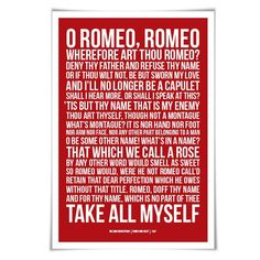 Romeo & Juliet Quote Art Print. 60 Colours/3 Sizes. Shakespeare Play. Theatre Poster