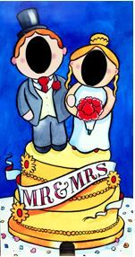 Mr and Mrs Cake Topper - Face in the Hole Board for hire.