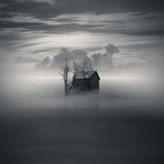 old house surrounded by the fog #fog #weather