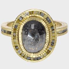 Todd Reed trdr405-17 | 18ky gold, black fancy diamond(2.37ctw) raw diamonds(.82ctw), white brilliants(.1092ctw)
