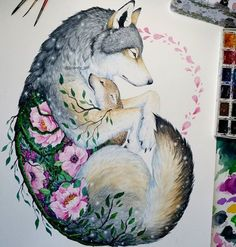 I like the layout except I'd have the wolf protecting a little fox