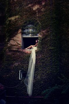 I want to take a photo like this, with my veil pouring out of a beautiful window, gorgeous
