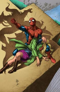 Death of Gwen Stacy by Mike Deodato Jr and Alexandre Palomaro (colours) spiderman Comic Book Characters, Marvel Characters, Comic Books Art, Comic Book Artists, Comic Art, Hq Marvel, Marvel Dc Comics, Marvel Heroes, Captain Marvel