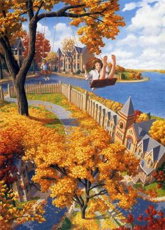 Rob Gonsalves - Swinging Over Fence And Footpath House And Road