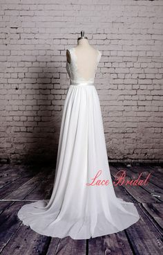 Sweetheart Wedding Gown Outside Bridal Gown Chiffon by LaceBridal