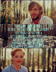 """""""They didn't agree on much. In fact, they rarely agreed on anything. They fought all the time & they challenged eachother everyday. But in spite their differences, they had one thing in common: They were crazy about eachother."""" -The Notebook"""