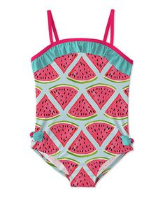 5f8127ccabf6a Love this Turquoise  amp  Pink Watermelon Ruffle UPF-50 One-Piece - Toddler