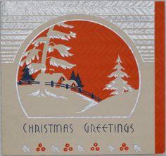 803 30s ART Deco Winter Scene Vintage Christmas Greeting Card | eBay